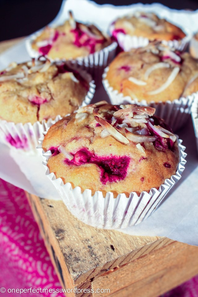 Raspberry, Coconut and White Chocolate Muffins recipe One Perfect Mess easy soft moist jumbo 1