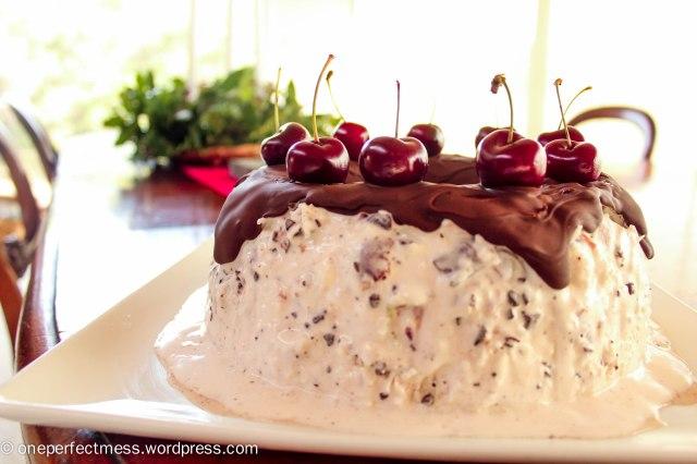 Chocolate, Cherry and Coconut Ice Cream Wreath recipe One Perfect Mess 4