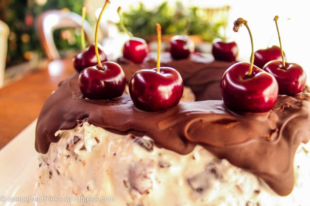 Chocolate, Cherry and Coconut Ice Cream Wreath recipe One Perfect Mess 5