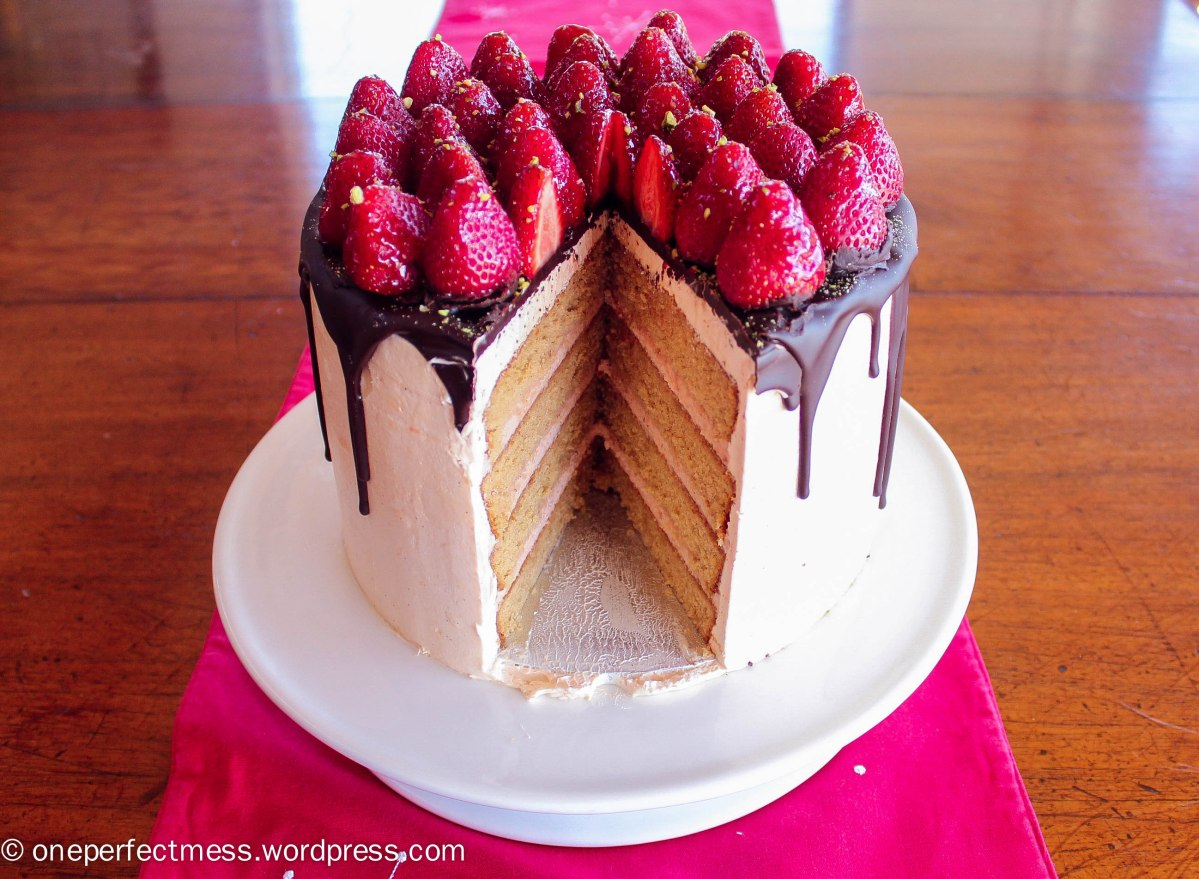 Vanilla Spice Celebration Cake with Strawberries, Chocolate Ganache and Rosewater Frosting