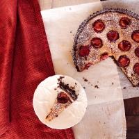 Honeyed Plum, Almond and Dark Chocolate Tart