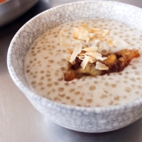 Coconut and Tapioca Pudding with Caramelised Bananas