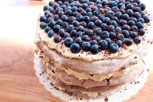 One Perfect Mess Blueberry and almond chocolate meringue torte with coffee cream 2