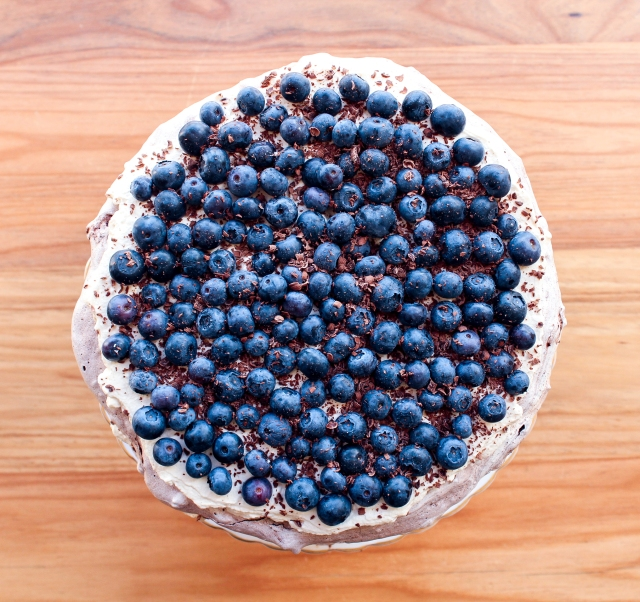 One Perfect Mess Blueberry and almond chocolate meringue torte with coffee cream 6