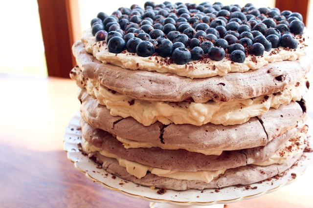 One Perfect Mess Blueberry and almond chocolate meringue torte with coffee cream 7