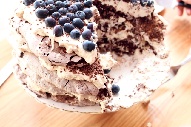 One Perfect Mess Blueberry and almond chocolate meringue torte with coffee cream 8