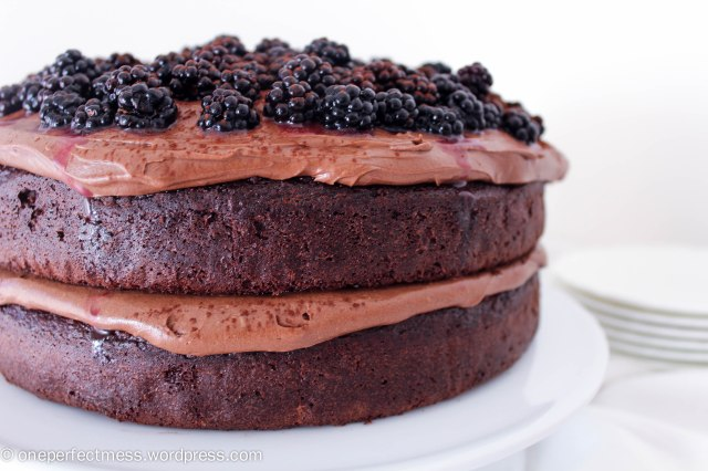 Double Chocolate Cake with Cream Cheese Frosting and Blackberries Recipe One Perfect Mess 1