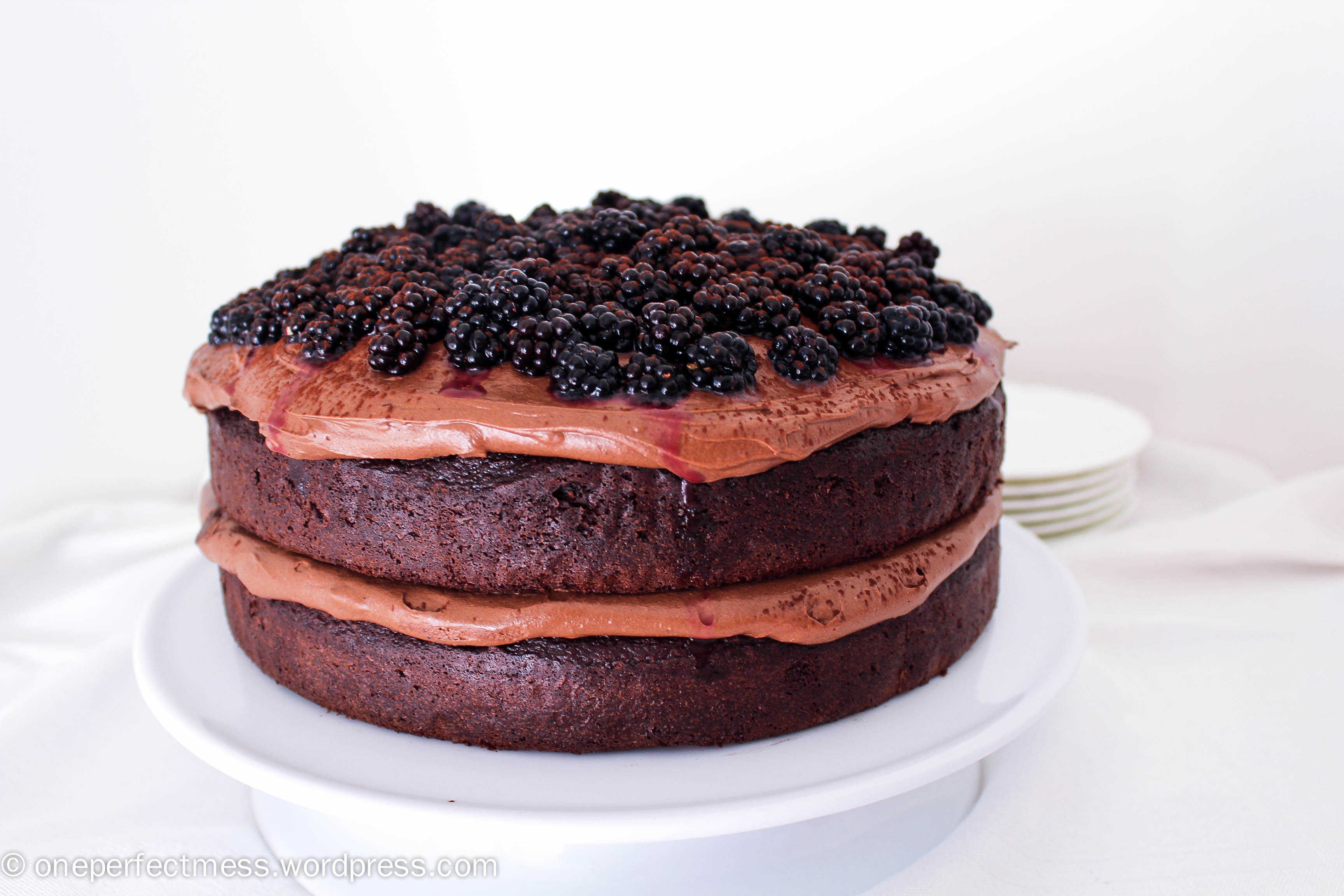 Double Chocolate Cake with Cream Cheese Frosting and Blackberries ...