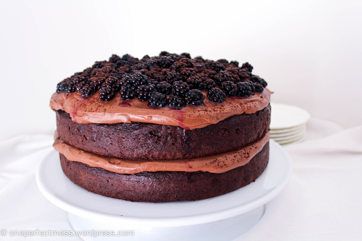 Double Chocolate Cake with Cream Cheese Frosting and Blackberries