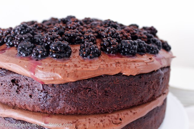 Double Chocolate Cake with Cream Cheese Frosting and Blackberries Recipe One Perfect Mess 7