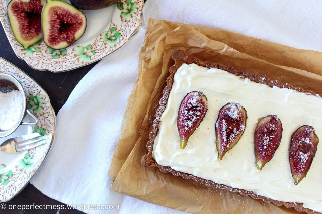 Honey Roasted Fig Dark Chocolate and Mascarpone Tart Recipe One Perfect Mess 1