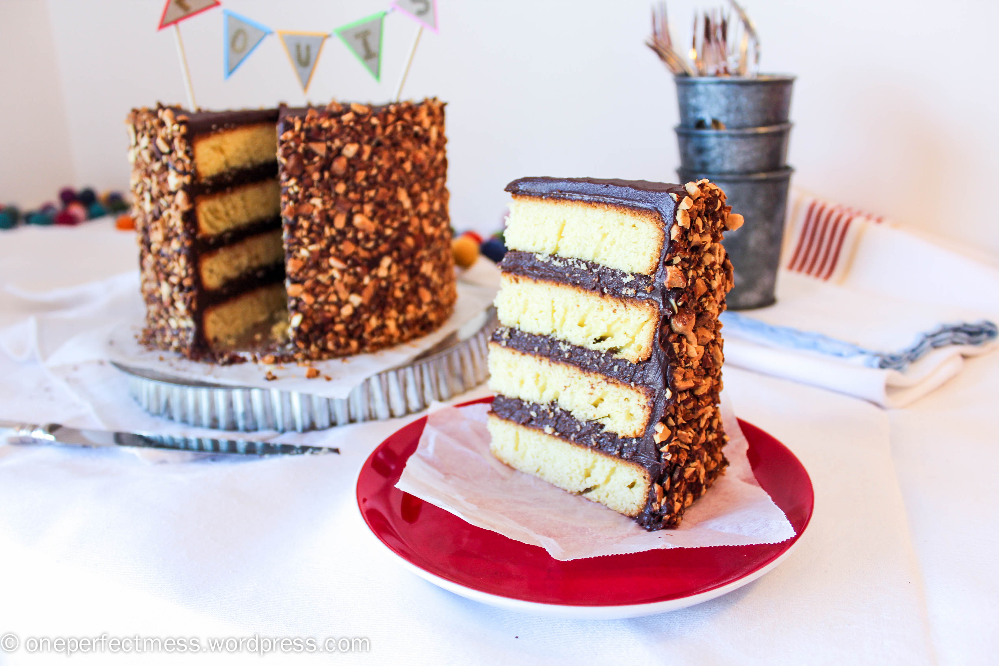 Roasted Almond and Dark Chocolate Layer Cake | one perfect mess
