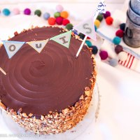 Roasted Almond and Dark Chocolate Layer Cake