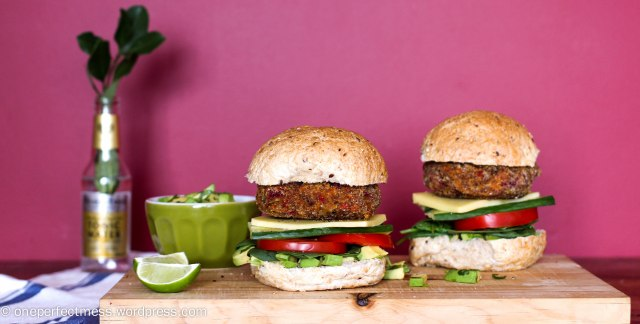 Roasted Vegetable Burgers One Perfect Mess easy recipe yummy vegetarian gluten free roast veggie patties sandwich bun healthy lunch dinner freezable 15
