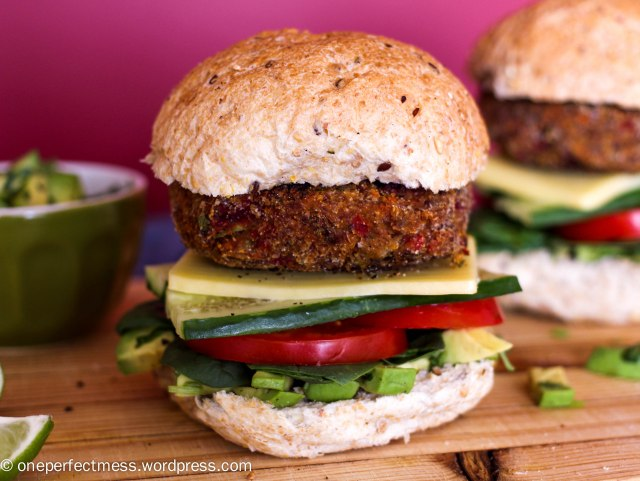 Roasted Vegetable Burgers One Perfect Mess easy recipe yummy vegetarian gluten free roast veggie patties sandwich bun healthy lunch dinner freezable 8