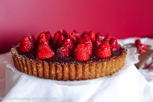 Strawberry and Chocolate Tart with an Anzac Biscuit Base Recipe One Perfect Mess 1