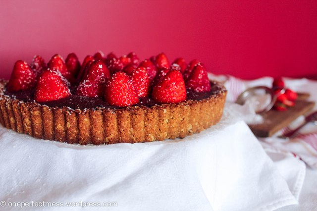 Strawberry and Chocolate Tart with an Anzac Biscuit Base Recipe One Perfect Mess 2