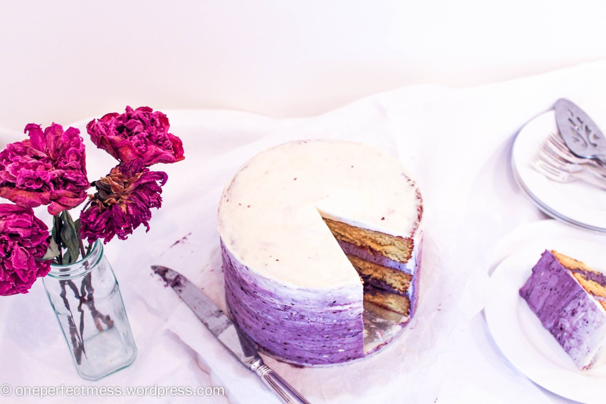 White Chocolate Layer Cake with Blackberry Buttercream | one perfect ...