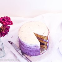 White Chocolate Layer Cake with Blackberry Buttercream