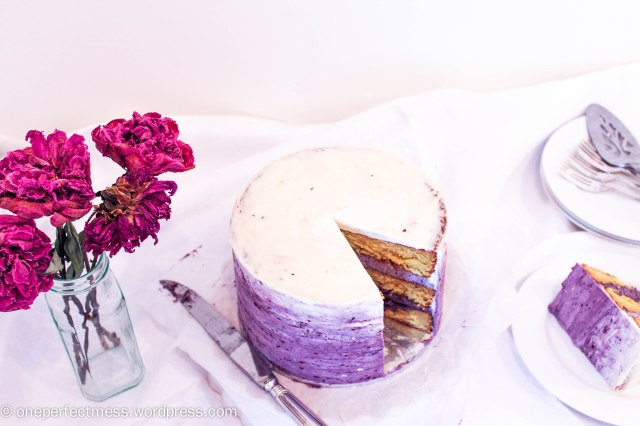 White Chocolate Layer Cake with Blackberry Swiss Meringue Buttercream Recipe One Perfect Mess 1