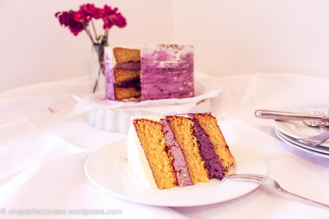 White Chocolate Layer Cake with Blackberry Swiss Meringue Buttercream Recipe One Perfect Mess 3