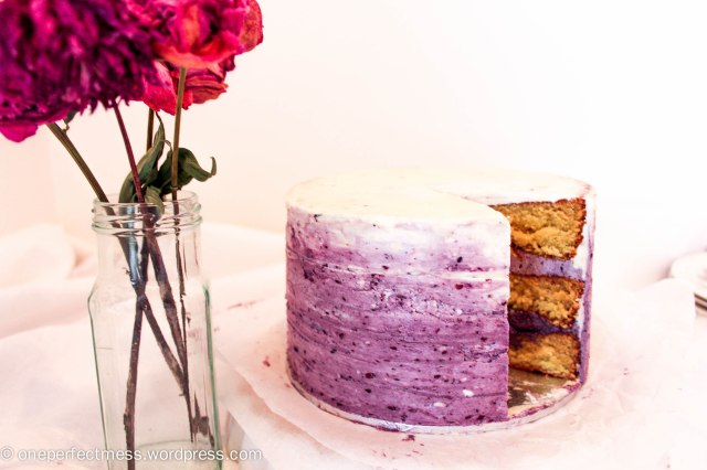 White Chocolate Layer Cake with Blackberry Swiss Meringue Buttercream Recipe One Perfect Mess 4