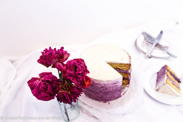 White Chocolate Layer Cake with Blackberry Swiss Meringue Buttercream Recipe One Perfect Mess 5