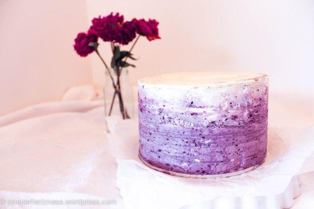 White Chocolate Layer Cake with Blackberry Swiss Meringue Buttercream Recipe One Perfect Mess 6