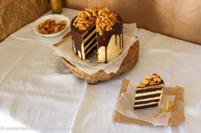 Honeycomb and Chocolate Four Layer Celebration Cake Recipe One Perfect Mess 11