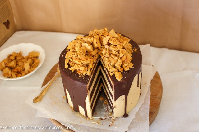 Honeycomb and Chocolate Four Layer Celebration Cake Recipe One Perfect Mess 14