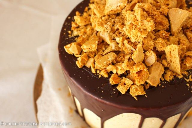 Honeycomb and Chocolate Four Layer Celebration Cake Recipe One Perfect Mess 4