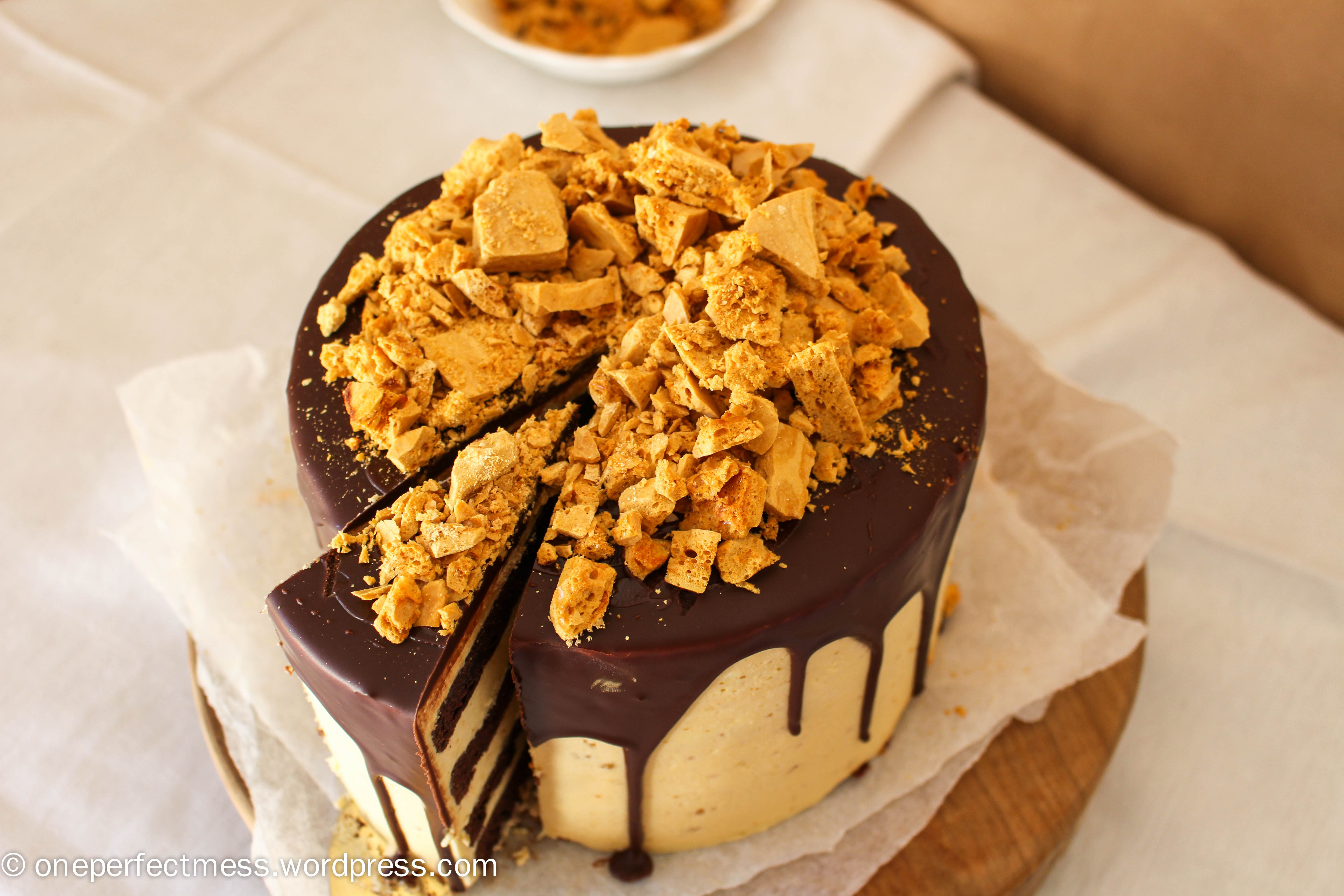 Honeycomb and Chocolate Four Layer Celebration Cake | one perfect mess