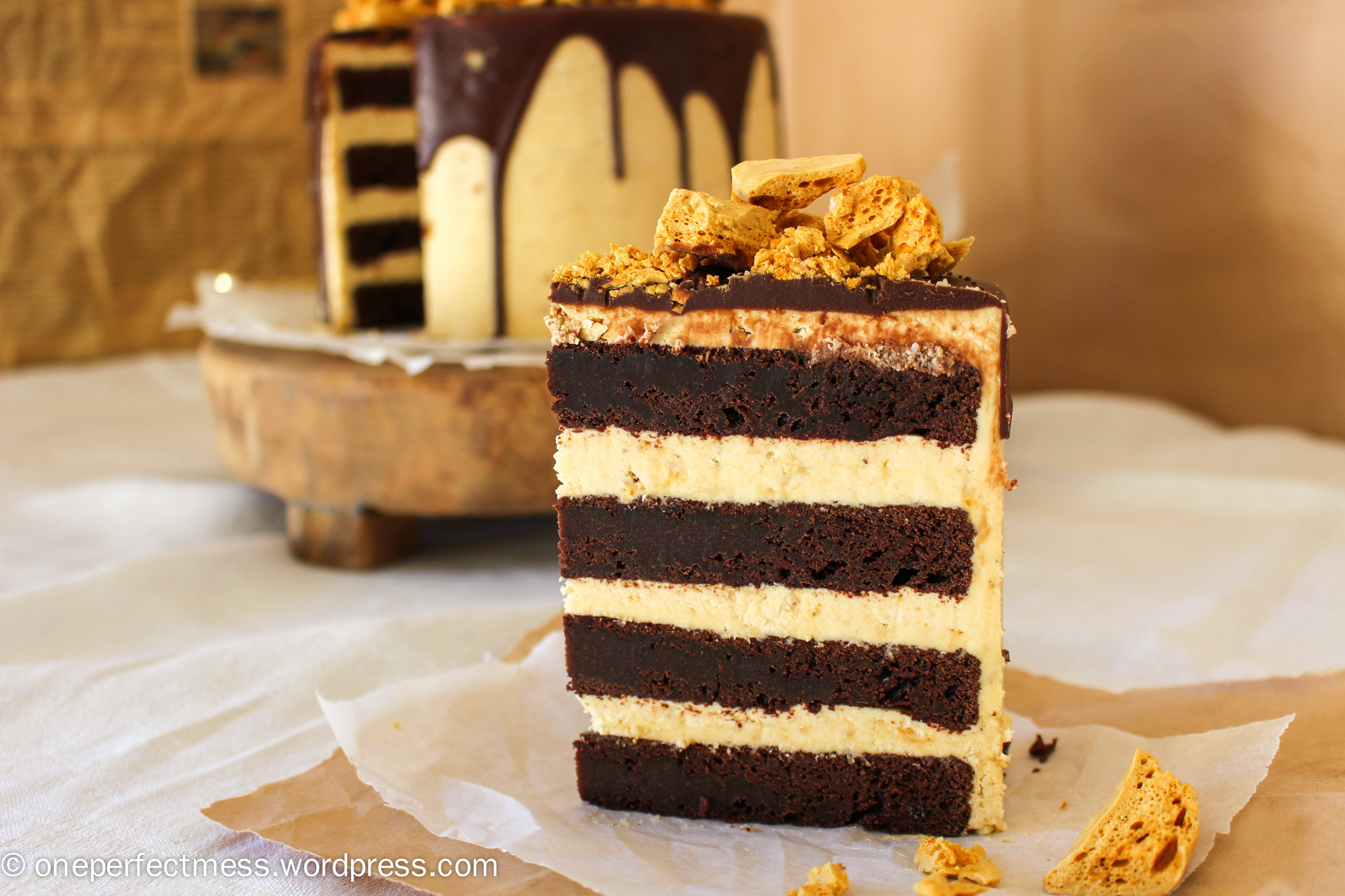 Honeycomb And Chocolate Four Layer Celebration Cake Recipe One Perfect Mess 9