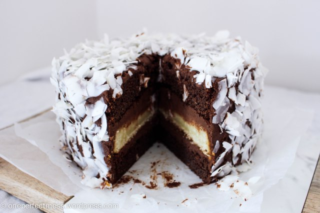 Triple Layered Chocolate and Coconut Cake recipe One Perfect Mess 7
