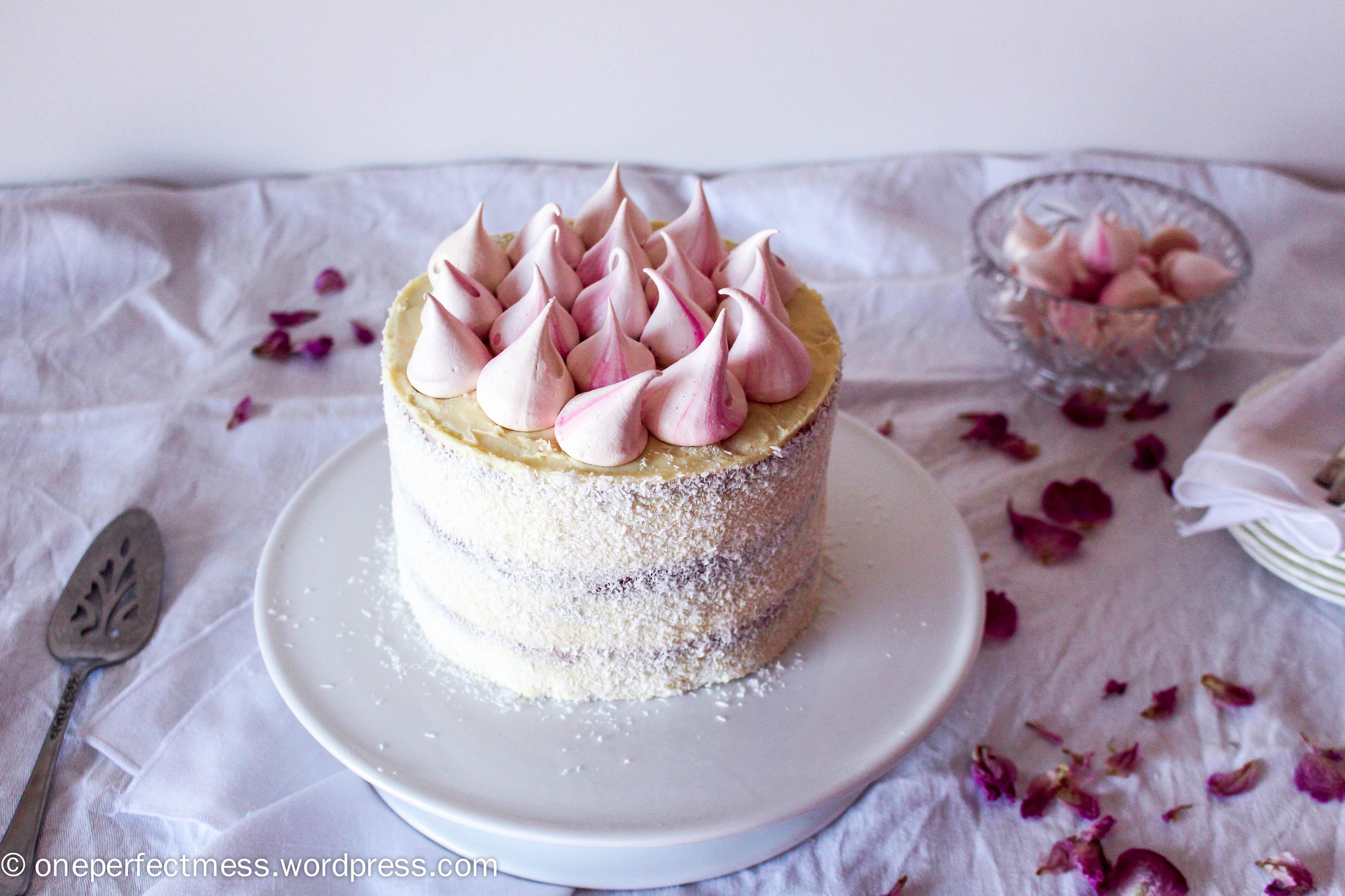 Raspberry Coconut And White Chocolate Celebration Cake