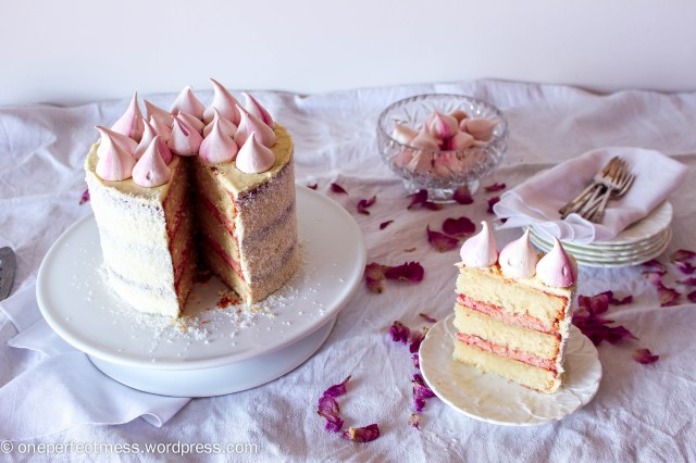 Raspberry, Coconut and White Chocolate Celebration Cake recipe One Perfect Mess 4