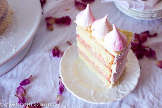 Raspberry, Coconut and White Chocolate Celebration Cake recipe One Perfect Mess 6