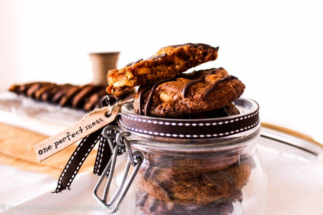 Salted Peanut Brittle Cookies with a Dark Chocolate Drizzle One Perfect Mess recipe 6
