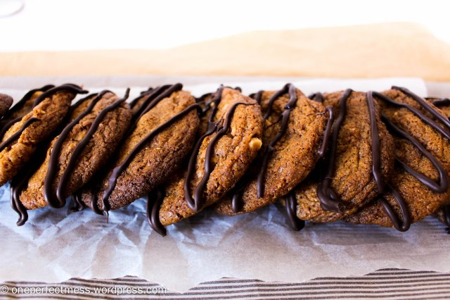 Salted Peanut Brittle Cookies with a Dark Chocolate Drizzle One Perfect Mess recipe 7