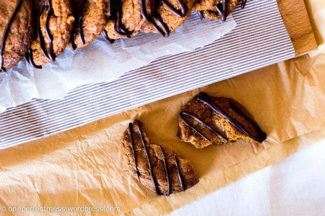 Salted Peanut Brittle Cookies with a Dark Chocolate Drizzle One Perfect Mess recipe 8