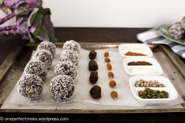 Almond, Coconut, Chocolate and Date Protein Bliss Balls recipe One Perfect Mess 3