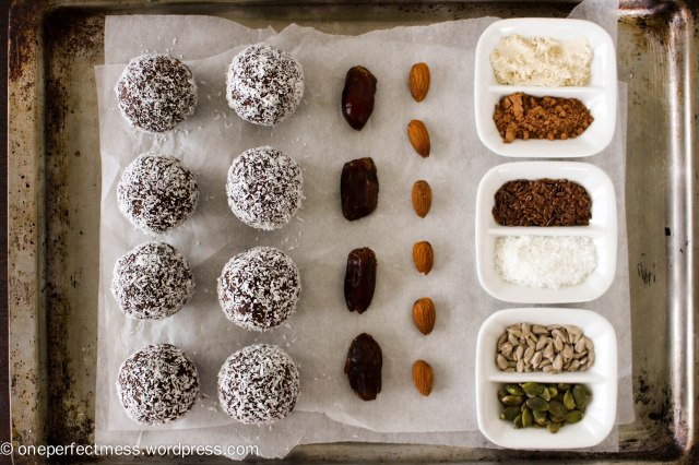 Almond, Coconut, Chocolate and Date Protein Bliss Balls recipe One Perfect Mess 4