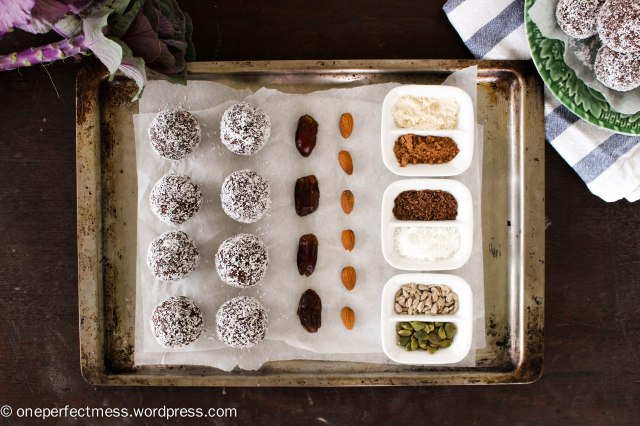 Almond, Coconut, Chocolate and Date Protein Bliss Balls recipe One Perfect Mess 5