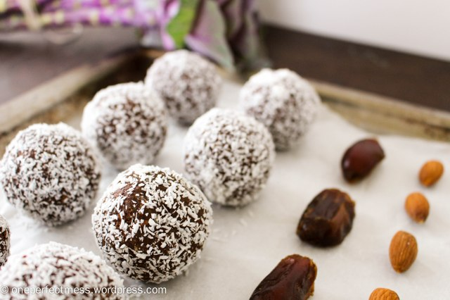 Almond, Coconut, Chocolate and Date Protein Bliss Balls recipe One Perfect Mess 7
