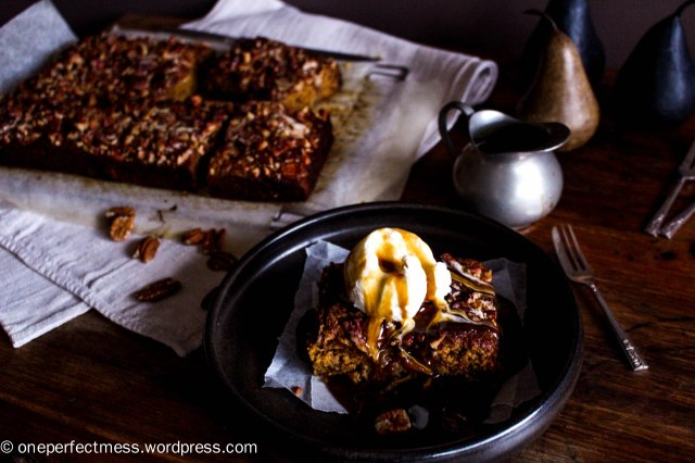 Sticky Date and Pear Toffee Pudding with Pecans and Warm Butterscotch Caramel Toffee Sauce recipe One Perfect Mess 6
