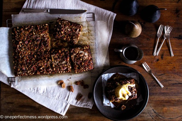 Sticky Date and Pear Toffee Pudding with Pecans and Warm Butterscotch Caramel Toffee Sauce recipe One Perfect Mess 8