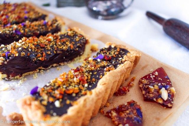 Dark Chocolate Ganache and Macadamia Tart with Violet Macadamia Praline honey salted recipe One Perfect Mess 4