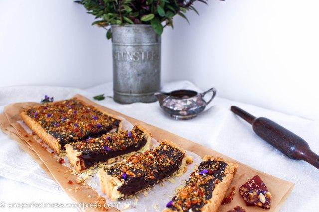 Dark Chocolate Ganache and Macadamia Tart with Violet Macadamia Praline honey salted recipe One Perfect Mess 5