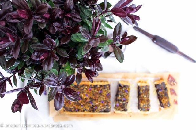 Dark Chocolate Ganache and Macadamia Tart with Violet Macadamia Praline honey salted recipe One Perfect Mess 7