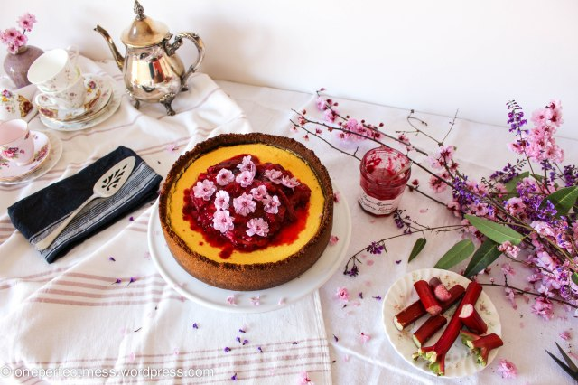 Rhubarb Raspberry Compote Ginger Goats Curd Cheese Cheesecake recipe One Perfect Mess 4